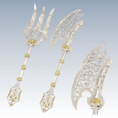 SOUFFLOT : Rare Antique French Silver (almost sterling) & Vermeil Neo Gothic Fish Serving Set 2pc