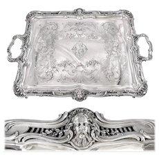PUIFORCAT : Stunning Antique French Sterling Silver Louis XV Tray, Mascarons ZEUS & HERA