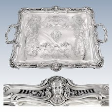 PUIFORCAT : Stunning Antique French Sterling Silver Louis XV Tray, Mascarons ZEUS & HERA
