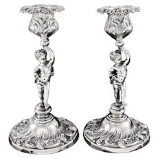 SOUFFLOT : Delightful Pair Antique French Sterling Silver Rococo Figural Candlesticks PUTTI