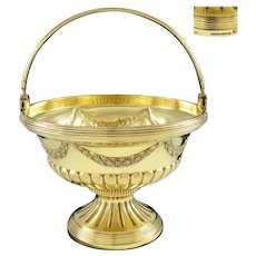 LINZELER :  Antique French Vermeil Sterling Silver Louis XVI Sweetmeat / Sugar Basket or Bowl