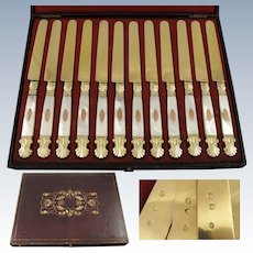 Rare Antique French Vermeil Sterling Silver & Mother of Pearl 12pc Knife Set POITIERS 1819