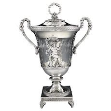 BOULANGER : Antique French Empire Sterling Silver Sugar Bowl / Drageoir Paris 1809