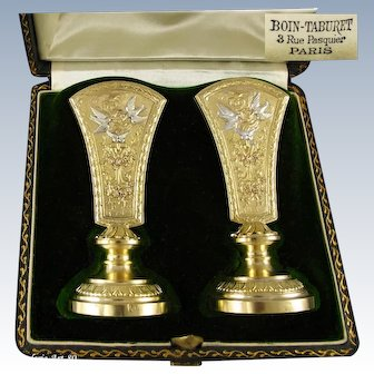 BOIN-TABURET : Rare Pair of Antique French bi-color Vermeil Sterling Silver Empire style Menu Card Holders