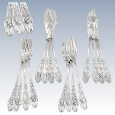 RAVINET : 16pc Antique French Art Nouveau IRIS Sterling Silver Fish Flatware Set