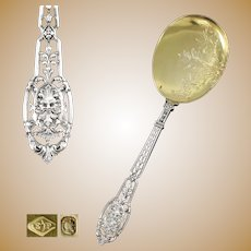 PUIFORCAT : Rare Antique French Sterling Silver Vermeil RENAISSANCE Mascaron Ice Cream / Dessert Serving Spoon