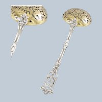 MONNEY : Antique French Sterling Silver & Vermeil Gothic Sugar Sifter Spoon