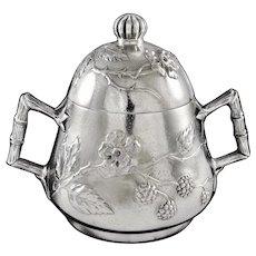 BOULOGNE : Rare Antique French Art Nouveau Japonism Sterling Silver & Vermeil Sugar Bowl