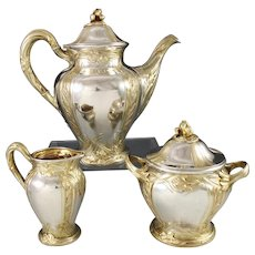 PUIFORCAT : Rarest Antique French Art Nouveau IRIS Sterling Silver Vermeil Tea / Coffee Set