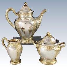PUIFORCAT : Rarest Antique French Art Nouveau IRIS Sterling Silver Vermeil Tea / Coffee Set