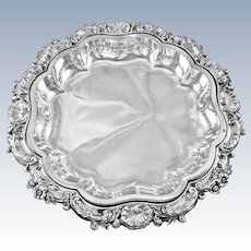 """ODIOT : Stunning Antique French Sterling Silver Louis XV 12"""" Serving Dish with Liner"""