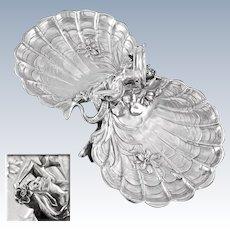 BRUCKMANN & SOHNE : Antique German Art Nouveau .800 Silver Double Shell Dish Centerpiece MERMAID