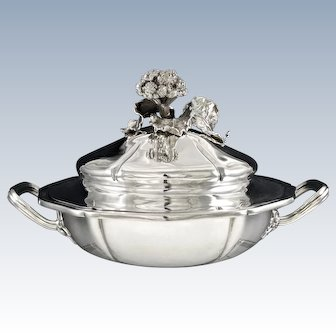 ODIOT : Prestigious Antique French Sterling Silver Covered Tureen / Dish  & Liner, figural Broccoli Finial