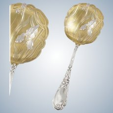 PUIFORCAT : Antique French Art Nouveau IRIS Sterling Silver Vermeil Serving Spoon