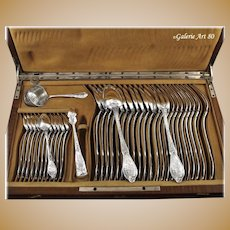 BOULENGER : Antique French Art Nouveau 38pc Sterling Silver THISTLE Flatware Set, Original Wooden Chest