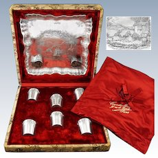 CARDEILHAC: Unique Antique French Sterling Silver Vermeil Liqueur / Liquor Glass Tray Set, Box