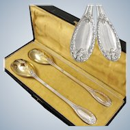 COIGNET : Antique French Sterling Silver Vermeil IMPERIAL EAGLE Empire style Salad Serving Set with Box