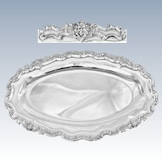 SOUFFLOT : Exceptional Antique French Sterling Silver Oval Platter or Tray Louis XV FAUN / SATYR