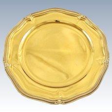 """ODIOT : Sumptuous 13.8"""" Antique French Vermeil Sterling Silver Round Tray / Serving Platter, Louis XVI style"""