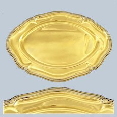 "ODIOT : Sumptuous 19.2"" Antique French Vermeil Sterling Silver Tray / Platter"