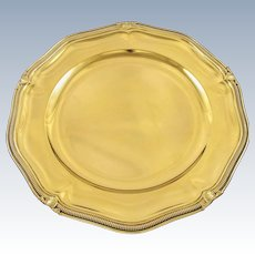 """ODIOT : Sumptuous 11.8"""" Antique French Vermeil Sterling Silver Round Tray / Serving Platter, Louis XVI style"""