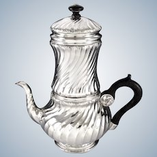 Harleux : Antique French Sterling Silver 4pc Biggin Coffee Pot, Louis XV style