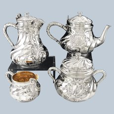 ODIOT : Antique French Sterling Silver Vermeil Tea & Coffee 4pc Set, Louis XV style