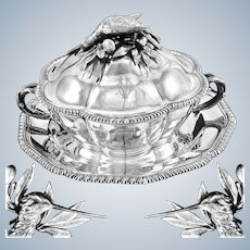 TURQUET : Remarkable Antique French Sterling Silver Tureen / Dish & Stand, Woodcock Game Figural Finial