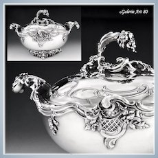HARLEUX : Extraordinary Antique French Sterling Silver Tureen, Louis XV Rococo