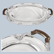 Georg JENSEN : Rare Hand Hammered Sterling Silver Tray with Wooden Handles,  Art Nouveau style, c. 1925-32