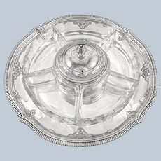 Rare Antique French Sterling Silver Baccarat Crystal 8pc Hors d'Oeuvre Dish / Tray Set, Regency Style