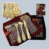 BUZOT : Rare 54pc Antique French Louis-Philippe Vermeil Silver Dessert Flatware Set c.1840