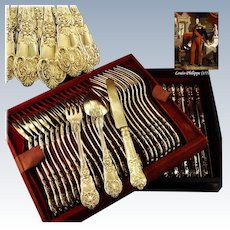 BUZOT : Rare 54pc Antique French Louis-Philippe Vermeil Silver Dessert Flatware Set c.1840