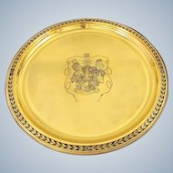 "GRUHIER : Antique 15.75"" French Vermeil Sterling Silver Serving Tray Armorial / Coat of Arms, Leather Case"
