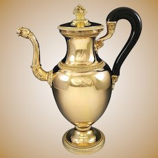 "LEBRUN : Prestigious 11.6"" Antique French Vermeil Sterling Silver Empire Coffee Pot c.1820"