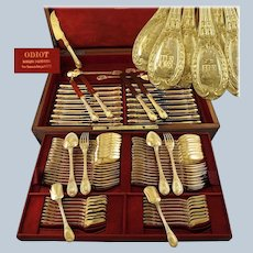ODIOT : Antique 94pc French Vermeil Sterling Silver LOUVECIENNES Flatware Set Marquis ARMORIAL, Original Chest