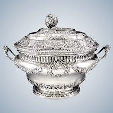 FAMECHON : Antique 18th century French Louis XVI Sterling Silver Vermeil Soup Tureen Paris 1789