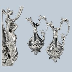 PAILLARD : Rare Pair of Antique French Sterling Silver Figural Claret Jugs PUTTI