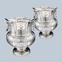 Stunning Large Pair of Antique Sterling Silver Champagne / Wine Coolers