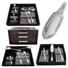 PUIFORCAT : 107pc Antique French Sterling Silver & Vermeil 'Empire Swan' Flatware Set for Twelve
