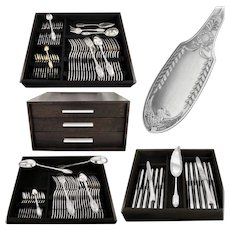 PUIFORCAT : 107pc Antique French Sterling Silver & Vermeil 'Empire Swan' Flatware Set for Twelve
