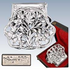 DEBAIN : Antique French Art Nouveau Sterling Silver Asparagus Server, Original Box