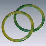 Vintage BAKELITE shades of green unusual bracelet pair