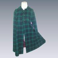 Vintage Wool Plaid cape