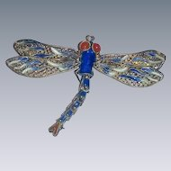 Vintage Dragonfly  cloisonne Enamel Sterling Silver moveable filigree Pendant Brooch