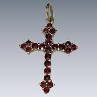 Rose cut Bohemian garnet Edwardian Era Cross Pendant