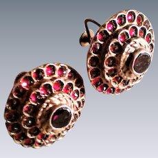 Bohemian garnet sterling silver gold gilt large earrings