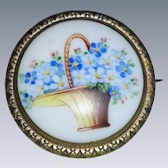 Vintage brooch pin with handpainted florals and basket