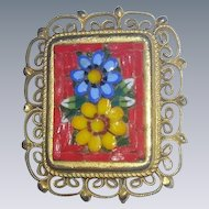 Vintage Italy Micro Mosaic tile floral filigree Brooch pin broach