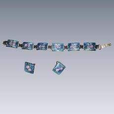 Fine Deco Bracelet & Earrings Set blue green & Pink Enamel on Sterling Links